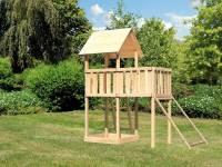 Akubi Spielturm Lotti natur mit Anbauplattform und Netzrampe