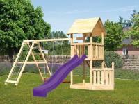 Akubi Spielturm Lotti + Schiffsanbau unten + Doppelschaukel mit Klettergerüst + Rutsche in violett +