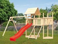 Akubi Spielturm Lotti Satteldach + Schiffsanbau oben + Anbauplattform + Doppelschaukel + Netzrampe +