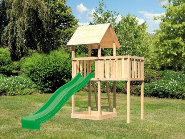 Akubi Spielturm Lotti natur mit Anbauplattform und Rutsche grün