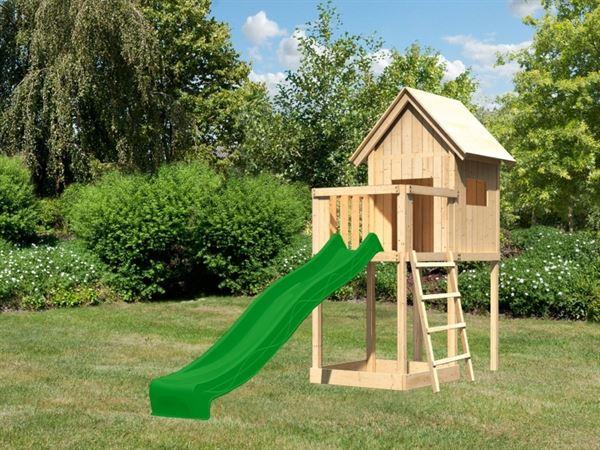 Akubi Spielhaus Frieda mit Anbau und Rutsche in grün