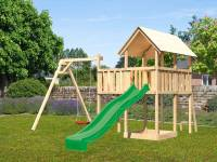 Akubi Spielturm Danny Satteldach + Rutsche grün + Einzelschaukel
