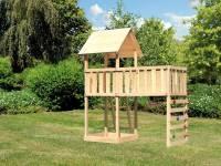 Akubi Spielturm Lotti natur mit Anbauplattform XL und Kletterwand