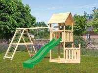 Akubi Spielturm Lotti + Schiffsanbau unten + Doppelschaukel mit Klettergerüst + Rutsche in grün+ Net