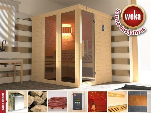 Weka Sauna Kemi Panorama 1 mit 7,5 kW Bioofen inkl. Farbvisionen Set A