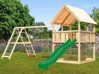 Akubi Spielturm Luis Satteldach + Rutsche grün + Doppelschaukelanbau Klettergerüst
