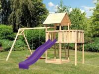 Akubi Spielturm Lotti natur- Anbauplattform- Doppelschaukel- Rutsche violett