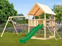 Akubi Spielturm Luis Satteldach + Rutsche grün + Doppelschaukel + Netzrampe