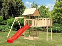 Akubi Spielturm Lotti natur mit Anbauplattform XL, Einzelschaukel und Rutsche rot
