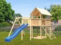 Akubi Spielturm Danny Satteldach + Rutsche blau + Doppelschaukel + Anbauplattform XL + Netzrampe
