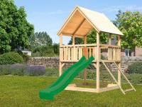 Akubi Spielturm Luis Satteldach + Rutsche grün + Anbauplattform + Netzrampe