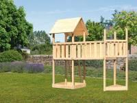 Akubi Spielturm Lotti Satteldach + Schiffsanbau oben + Anbauplattform XL