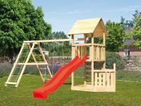 Akubi Spielturm Lotti + Schiffsanbau unten + Kletterwand + Doppelschaukel mit Klettergerüst + Rutsch