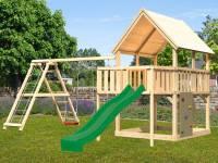 Akubi Spielturm Luis Satteldach + Rutsche grün + Doppelschaukelanbau Klettergerüst + Anbauplattform