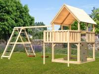 Akubi Spielturm Luis Satteldach + Doppelschaukelanbau Klettergerüst + Anbauplattform + Kletterwand