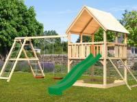 Akubi Spielturm Luis Satteldach + Rutsche grün + Doppelschaukelanbau Klettergerüst + Netzrampe