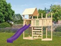 Akubi Spielturm Lotti Satteldach + Schiffsanbau oben + Anbauplattform + Kletterwand + Rutsche in vio