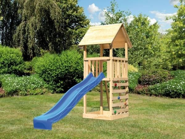 Akubi Spielturm Lotti mit Kletterwand und Rutsche blau