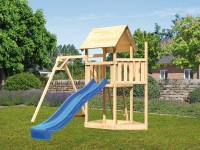 Akubi Spielturm Lotti Satteldach + Schiffsanbau oben + Einzelschaukel + Rutsche in blau