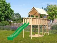 Akubi Spielturm Danny Satteldach + Rutsche grün + Anbauplattform