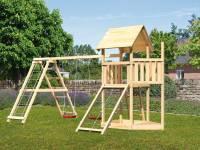 Akubi Spielturm Lotti Satteldach + Schiffsanbau oben + Doppelschaukel mit Klettergerüst + Netzrampe