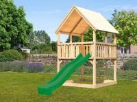 Akubi Spielturm Luis mit Rutsche in grün
