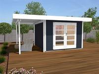 Weka Gartenhaus 126 Plus Gr. 1 mit Anbaudach 150 cm anthrazit