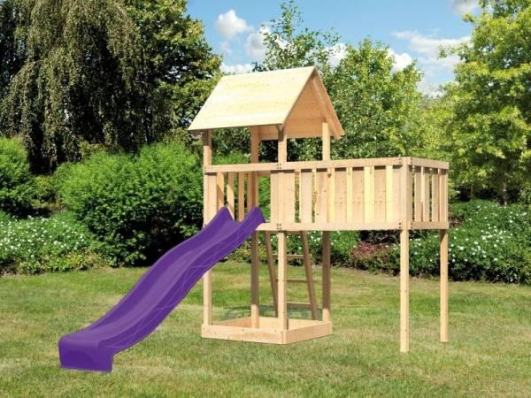Akubi Spielturm Lotti natur mit Anbauplattform XL und Rutsche violett