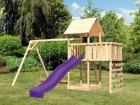 Akubi Spielturm Lotti Satteldach + Rutsche violett + Doppelschaukel + Anbauplattform + Kletterwand