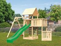 Akubi Spielturm Lotti + Schiffsanbau unten + Anbauplattform + Kletterwand + Einzelschaukel + Rutsche