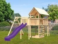 Akubi Spielturm Danny Satteldach + Rutsche violett + Doppelschaukel + Anbauplattform XL + Kletterwan