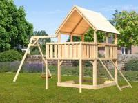 Akubi Spielturm Luis Satteldach + Einzelschaukel + Anbauplattform + Netzrampe