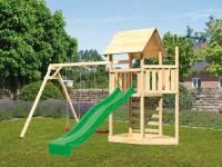 Akubi Spielturm Lotti Satteldach + Schiffsanbau oben + Doppelschaukel + Kletterwand + Rutsche in grü