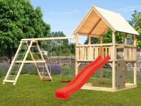 Akubi Spielturm Luis Satteldach + Rutsche rot + Doppelschaukelanbau Klettergerüst + Kletterwand