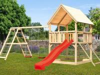 Akubi Spielturm Luis Satteldach + Rutsche rot + Doppelschaukelanbau Klettergerüst + Netzrampe