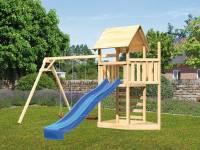 Akubi Spielturm Lotti Satteldach + Schiffsanbau oben + Doppelschaukel + Kletterwand + Rutsche in bla