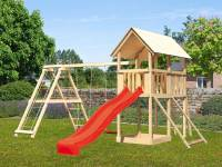 Akubi Spielturm Danny Satteldach + Rutsche rot + Doppelschaukelanbau Klettergerüst + Netzrampe