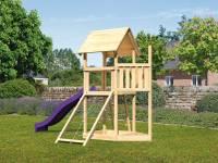Akubi Spielturm Lotti Satteldach + Schiffsanbau oben + Netzrampe + Rutsche in violett