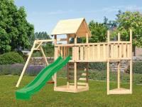 Akubi Spielturm Lotti Satteldach + Schiffsanbau oben + Einzelschaukel + Anbauplattform XL + Kletterw