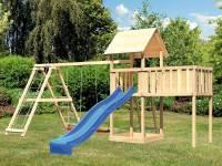 Akubi Spielturm Lotti natur mit Anbauplattform XL, Doppelschaukel inkl. Klettergerüst und Rutsche bl