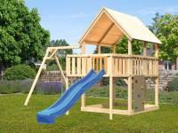 Akubi Spielturm Luis Satteldach + Rutsche blau + Einzelschaukel + Anbauplattform + Kletterwand