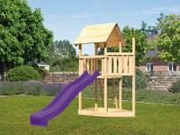 Akubi Spielturm Lotti Satteldach + Schiffsanbau oben + Rutsche in violett