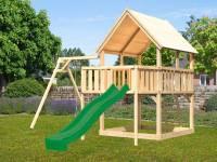 Akubi Spielturm Luis Satteldach + Rutsche grün + Einzelschaukel + Anbauplattform