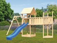 Akubi Spielturm Lotti Satteldach + Schiffsanbau oben + Einzelschaukel + Anbauplattform XL + Rutsche