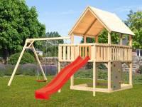 Akubi Spielturm Luis Satteldach + Rutsche rot + Doppelschaukel + Anbauplattform + Kletterwand