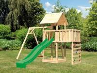 Akubi Spielturm Lotti Satteldach + Rutsche grün + Einzelschaukel + Anbauplattform + Kletterwand