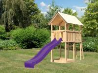 Akubi Spielturm Danny Satteldach + Rutsche violett