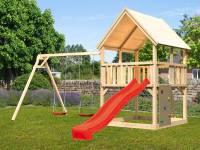 Akubi Spielturm Luis Satteldach + Rutsche rot + Doppelschaukel + Kletterwand