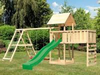 Akubi Spielturm Lotti Satteldach + Rutsche grün + Doppelschaukel Klettergerüst + Anbauplattform XL +