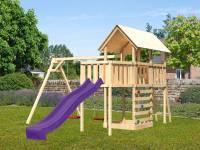 Akubi Spielturm Danny Satteldach + Rutsche violett + Doppelschaukel + Anbauplattform + Kletterwand